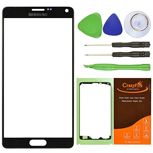 CrazyFire® Black New Front Outer Glass Lens Screen Replacement For Samsung Galaxy Note IV Note 4 N9100 N910A N910P N910T N910V N910R4+Adhesive Tape+Tools Kit