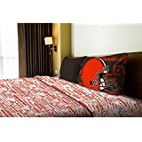 3 Piece NFL Browns Anthem Sheet Twin Set, Football Themed Bedding Sports Patterned, Team Logo Fan Me