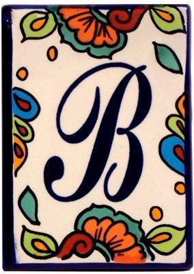 Ceramic Letter Tiles - Fine Crafts Imports Hacienda Talavera Ceramic House Letter B