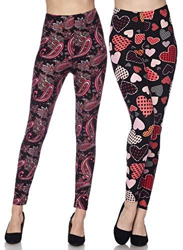 (2 Pack Womens Premium Ultra Soft Fashion Leggings (Playful Hearts & Romantic Paisley, One Size (S-L / 2-12)))