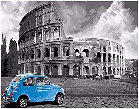 Msbvf Arena DIY Pintura por números Resumen Coche Viaje Pintura al óleo sobre Lienzo Roma Cuadros Decoracion Acrílico Decoración del hogar Frameless 40 * 50cm.