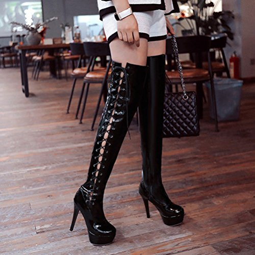 Agodor Womens Platform Stiletto High Heels Lace up Over The Knee High Boots Closed Toe Side Cut Out Thigh High Shoes Black Z799E