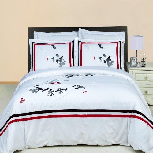 Luxurious FOUR (4) Piece Cal King Size Florence Embroidered Comforter Set. Luxury Set Includes100% LUXURIOUS EGYPTIAN COTTON 3 Piece Duvet CoverSet + 1 Piece Down Alternative Comforter