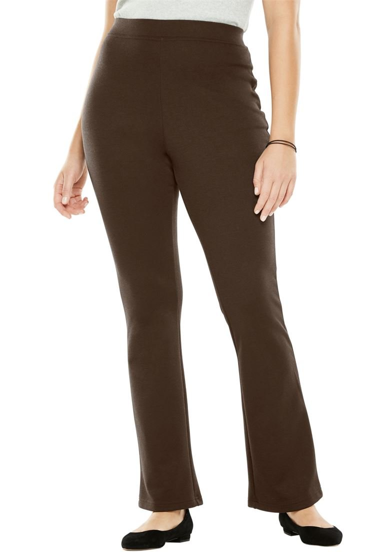 Women's Plus Size Tall Bootcut Ponte Knit Stretch Pants Chocolate,24 T