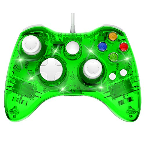 Wired 360 Controller Dual Vibrator Wired Gamepad Gaming Joypad, Green - PAWHITS (Green Xbox 360 Controller Wired)
