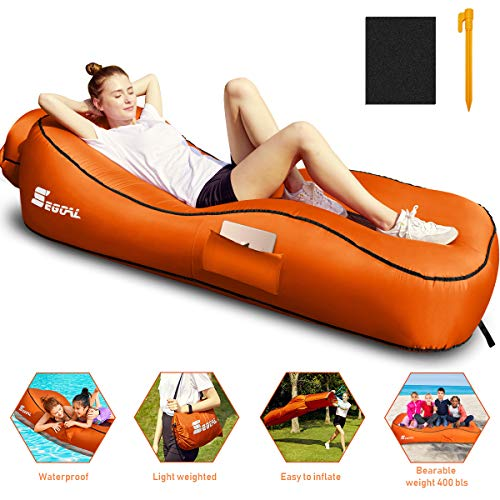 2020 Ergonomic S-Shaped Inflatable Lounger Air Sofa Couch Chair Bed Hammock with Pillow Waterproof Anti-Air Leaking Single Layer Nylon Material for Camping Hiking Travel Beach, 5 Seconds Inflatable