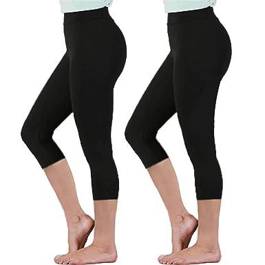 4b3e2a4fbb697 Gnpolo Womens Black High Waisted Capri Leggings 2 Pack Tummy Control Yoga  Pants Soft Slim Trousers