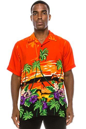 JC DISTRO Mens Hipster Hip Hop Palm Tree Graphics Button up Orange Hawaiian Shirt ()