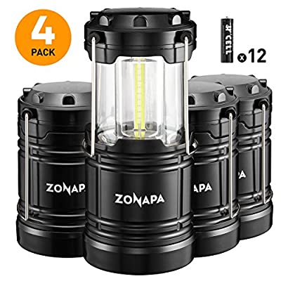 ZONAPA Outdoor LED Lantern w/Magnetic Base (4-Pack) Battery Powered, Portable Camping Light   Ultra-Bright Camp or Emergency Lighting   Indoor, Outdoor Hanging Hook