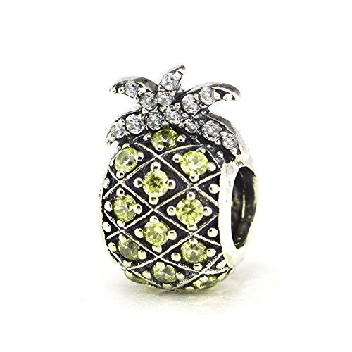 - CKK Charm Sparkling Pineapple Fruit Charm Jewelry 925 Sterling Silver DIY Bead Fits Pandora Bracelets and Necklace Women Girl Gift, Light Yellow CZ