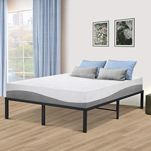 SLEEPLACE 14 Inch Tall SPT-200 Steel Slat Bed Frame Non-Slip Support Grey FULL