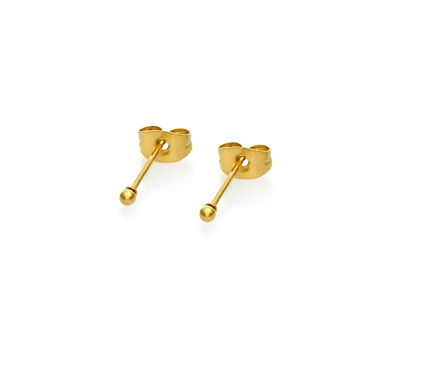Stainless Steel Gold Toned Round Ball Stud Earrings