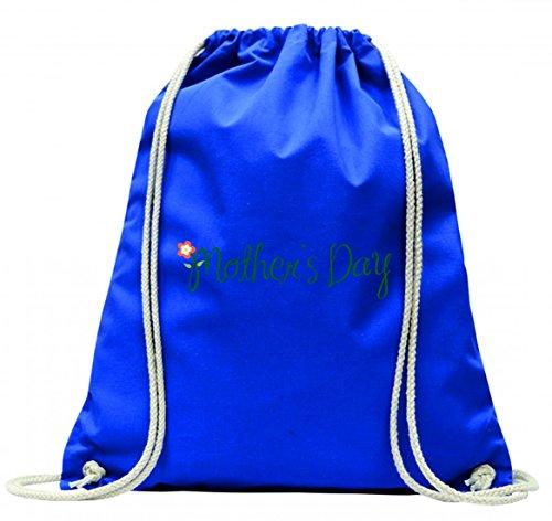 Turnbeutel MUTTERTAG- MUTTER- BLUME- SCHRIFTEN- LIEBE- GRUß- KINDER- URLAUB- FAMILIE- KIND- ELTERN- BLUMEN- WEIBLICH mit Kordel - 100% Baumwolle- Gymbag- Rucksack- Sportbeutel Blau 6xi3LP5w