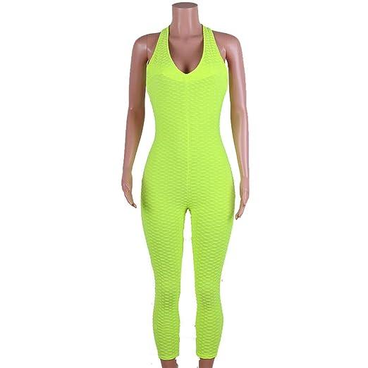 Fengbingl Mono de Panal Yoga Pantalones Mujer Yoga Fitness ...