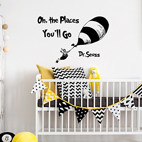 Wall Decal Decor Children Wall Decal - Oh The Places You'll Go - Dr Suess Wall Decals Art Words for Nursery Kids Room(Black, 15
