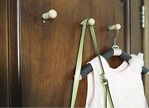 VTurboWay 8 Pack Adhesive Wall Hooks, No Drills Wooden Hat Hooks, Storage Wall Mounted Coat Hanging Hook for Coat, Wardrobe Closet Towel Key Robe Hook by VTurboWay (Image #4)