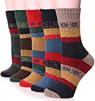 Womens Wool Socks Thick Heavy Thermal Fuzzy Winter Warm Snowflake Crew Socks For Cold Weather 5 Pack (snowflake)