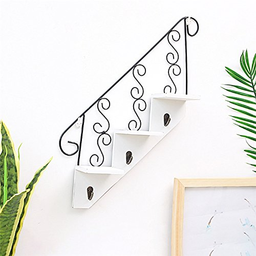 perfectshow Art Wooden&Iron Stair Shaped Hook Hanger,Wall Mounted Plant Display Rack Decorative Flower Rack Living Room Kitchen Storage Planter
