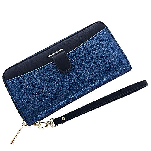 Cyanb Women Bifold Clutch Wallets Iphone Wristlet Purses for Women Lady with Zipper and Wrist Strap Dark Blue