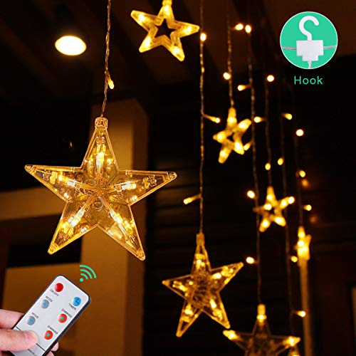cheap for discount cfe83 0ef97 Details about Indoor String Lights Led Curtain Star - Decorative Fairy With  Remote Warm White