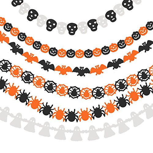 Ailiebhaus 6 Pack Halloween Decorations Hanging Paper Chain Garlands Prop Pumpkin Spider Bat Ghost Skull Shape for Halloween Party