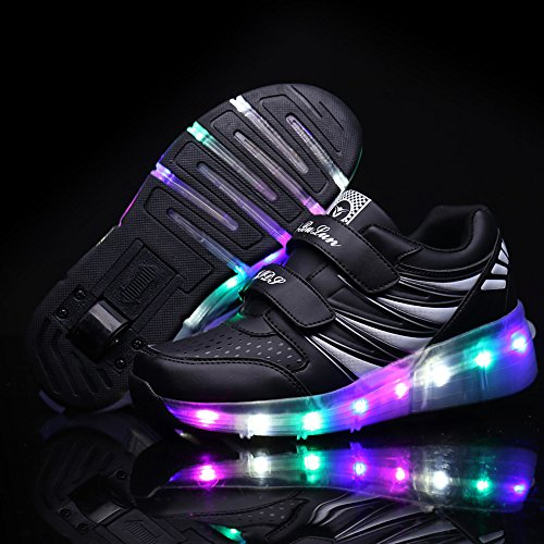 HUSK'SWARE Led Flashing Enfant Kinderschuhe Jungen Mädchen Roller Skate Schuhe Turnschuhe Mit Rollen Weihnachten Kinder Automatischen Wheels Sportschuhe Schuhe negro