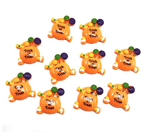 PEPPERLONELY 10PC Halloween Trick or Treat Pumpkin Candy Bag Basket Resin Flatback Cabochon DIY Flatback Scrapbooking Embellishment Decoration Craft Making, 27 x -