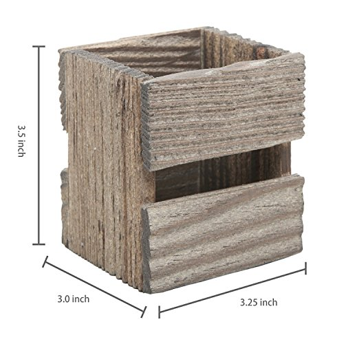 MyGift Set of 3 Crate Design Pen & Pencil Holders, Wood Office Desk Storage Boxes by MyGift (Image #5)