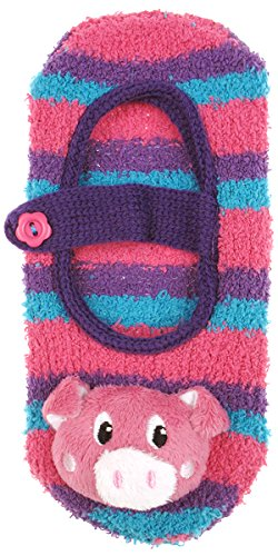 Capelli New York Pink Pig With 3D Head & Grippers Cozy Slipper Sock Pink Combo S/M