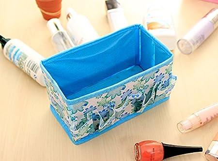 Accesorios etc Westeng Almacenamiento Dise/ño de Imagen de La Flor Caja de Almacenamiento Ropa Ropa Organizador de Cajones Calcetines Azul Sombreros