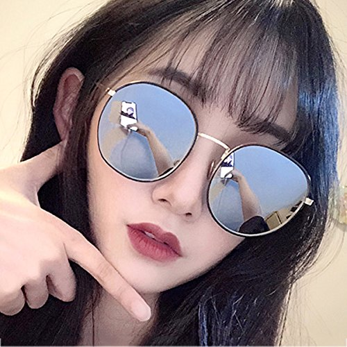 femeninas de Gafas coreano UVA Gold Color polarizadas mercury WLHW Party frame mercury espejo Drive Party UVB sol redonda Gold Travel cara frame dpwwqt