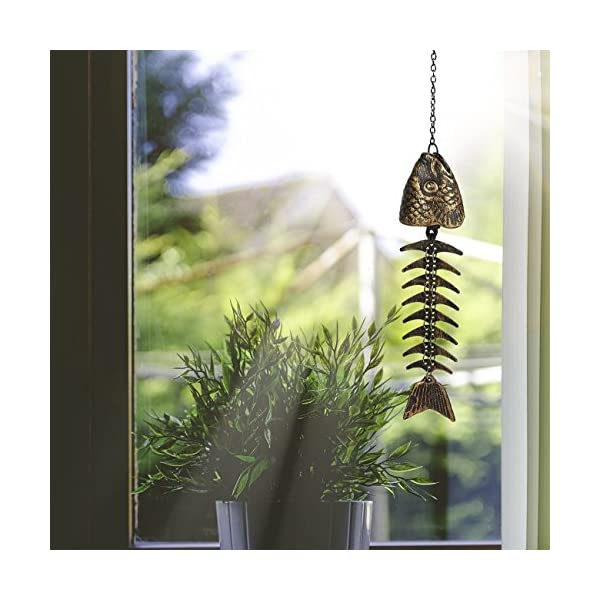 Juvale Wind Chime and Balcony Garden Rustic Decorative Fishbone Outdoor Chime
