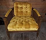 Vintage Cane Sides Barrel Style Lounge Chair w Yellow Fabric NICE