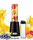 MISPO Personal Blender Juicer for ice, shake, Smoothie, Frozen Fruit and Vegetable Juice, with 20oz Portable Bottle and Travel Lid (FDA, BPA Free), 4 Stainless Steel Blades - 600ml - 250 Watts - Black (20oz)