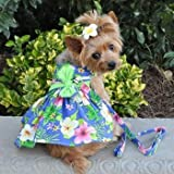 Cheap Doggie Design Blue Lagoon Hawaiian Hibiscus Dog Dress with Matching Leash