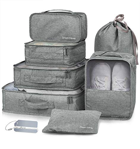 Packing Cubes VAGREEZ 7 Pcs Travel Luggage Packing Organizers Set with Laundry Bag (Grey)
