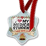 Add Your Own Custom Name, I heart love my Medical Student Christmas Ornament NEONBLOND