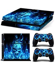 Mcbazel Whole Body Vinyl Sticker Pattern Decals Skin Cover for Original PS4 Console & Controller (NOT for PS4 Slim / PS4 Pro) - Blue Flame Skull