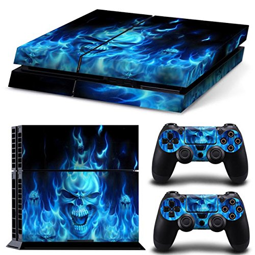 Gam3Gear Vinyl Decal Protective Skin Cover Sticker for PS4 Console & Controller- Blue Flame Skull