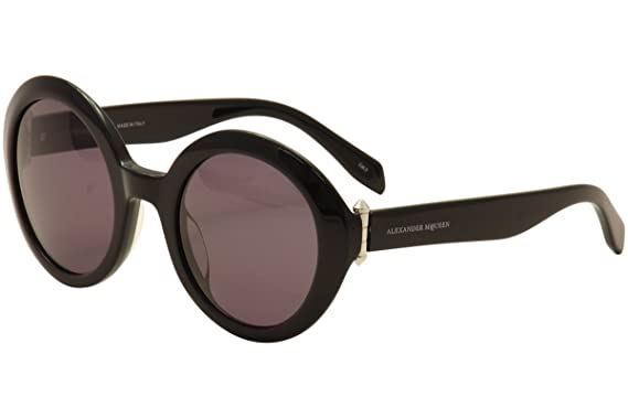 bc80e32b9a9fa Image Unavailable. Image not available for. Color  Alexander McQueen  AM0002S 001 Black AM0002S Round Sunglasses ...
