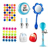 Bike Decoration & Accessories Kit for Kids – Includes Bike Spoke Beads, Bike Mirror, Bike Bell, Bicycle Wheel Lights, Safety Silicone Lights, Bike Chain