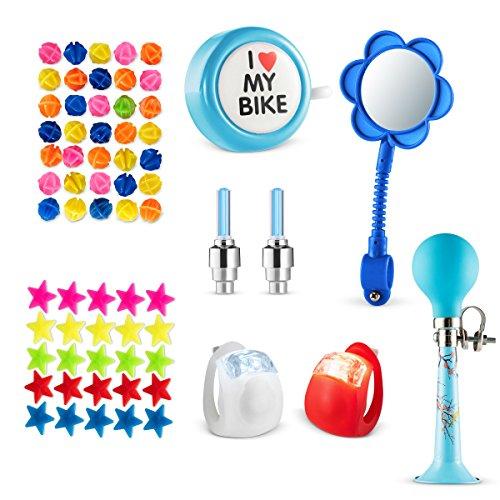 Bike Decoration & Accessories Kit for Kids - Includes Bike Spoke Beads, Bike Mirror, Bike Bell, Bicycle Wheel Lights, Safety Silicone Lights, Bike Chain