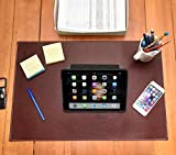 Desk Pad Blotter Protector Comfortable with Faux Leather Feels Smooth and Sturdy with Velvet Bottom. Color Dark Brown (16 x 24)