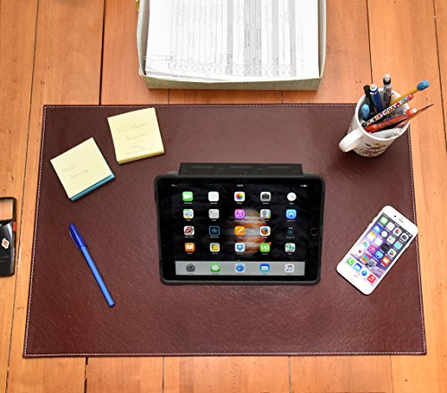 Desk Pads And Blotters - Desk Pad Blotter Protector Comfortable with Faux Leather Feels Smooth and Sturdy with Velvet Bottom. Color Dark Brown (16 x 24)