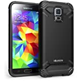 Galaxy S5 Case, i-Blason Armadillo Series 2 Layer Armored Hybrid Cover with Inner Soft Case and Hard Outter Shell AT&T, Verizon, Sprint, T-Mobile for Samsung Galaxy S5 (Black)