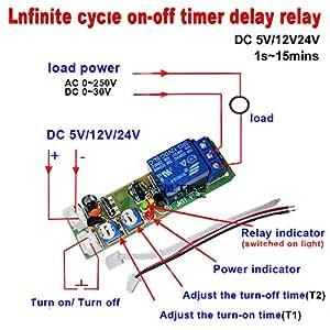 Qianson DC 5V 12V 24V Infinite Cycle Delay Timing Timer Relay ON