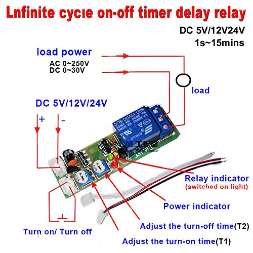 Qianson DC 5V 12V 24V Infinite Cycle Delay Timing Timer Relay ON OFF Switch Loop Module (DC 12V (1s~15min)) (Dc Timer Switch)