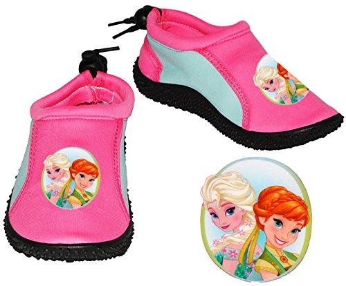 Aquaschuhe - ANTI Rutsch Sohle - Gr. 24 / 25 - Disney die Eiskönigin - FROZEN - rutschfeste & verstellbare NEOPREN Schuhe Schuh / Badeschuhe mit Profilsohle - für Kinder rosa pink - Mädchen / Surfs