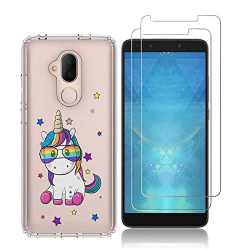 Alcatel 7 Case with 2 Pack Glass Screen Protector Phone Case for Men Women Girls Clear Soft TPU with Protective Bumper Cover Case for Revvl 2 Plus (2018)-Unicorn