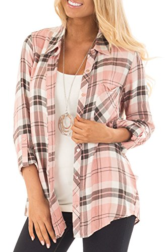 NuoReel Womens Casual Plaid Soft Button Down Tops Roll Up Long Sleeve Cuffed Blouse Shirts with Breast Pockets (Small, Pink)